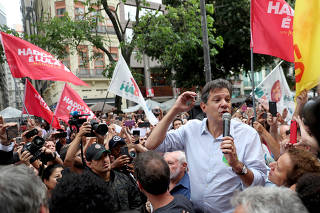 Fernando Haddad, presidential candidate of Brazil's leftist Workers' Party (PT), attends a rally in downtown of Rio de Janeiro