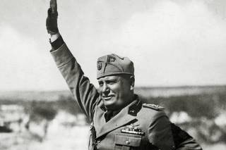 Politics, Personalities, Italy, pic: circa 1935, Italian fascist dictator Benito Mussolini (1883-1945) pictured in arrogant pose, as he gives the fascist salute
