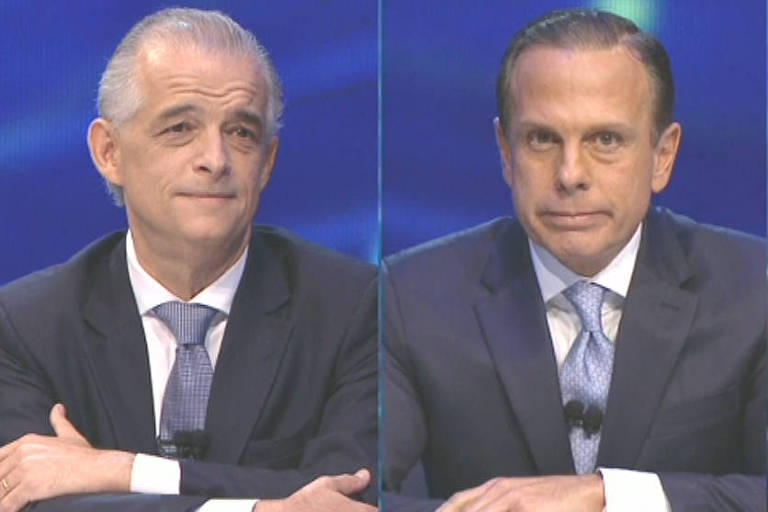 França e Doria durante debate na Band, na quinta-feira (18)