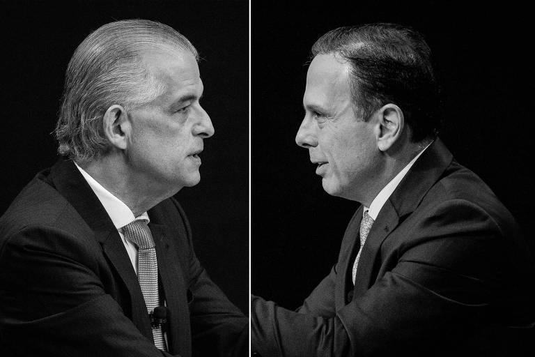 Os candidatos ao governo paulista Márcio França (PSB) e João Doria (PSDB) durante debate na Band