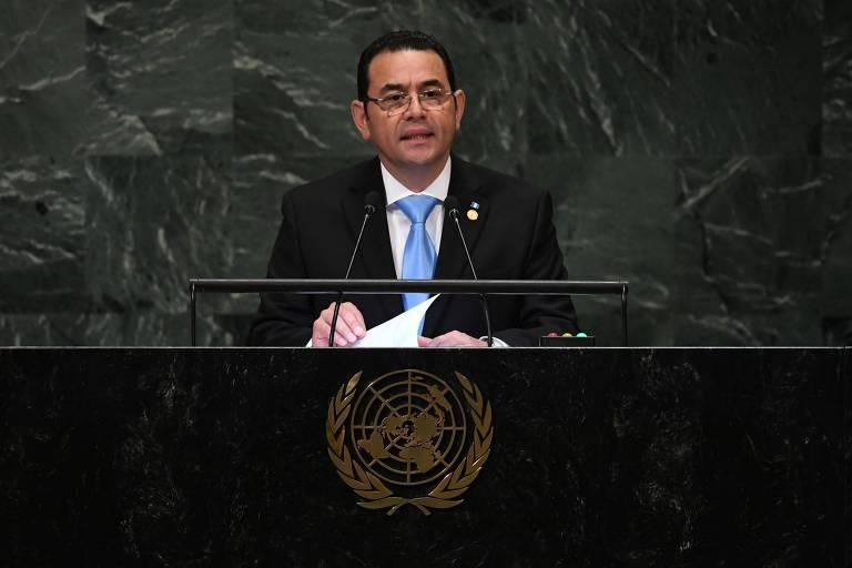 O presidente da Guatemala, Jimmy Morales, discursa durante sessão da Assembleia Geral da ONU em setembro do ano passado