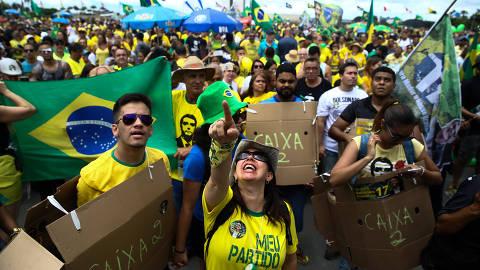 BRASILIA, DF,  BRASIL,  21-0-10-2018, 12h00: Passeata pró Bolsonaro na esplanada dos ministérios em Brasília. (Foto: Pedro Ladeira/Folhapress, PODER)