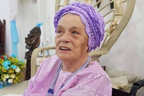 Maria Antunes de Nanã, no terreiro de candomblé  Axé Ilê Obá, em São Paulo