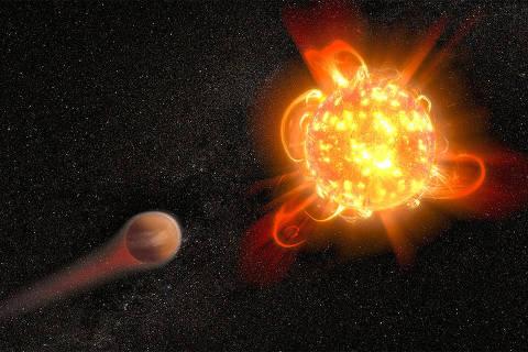 lustração mostra uma superexplosão estelar em uma estrela anã vermelha jovem erodindo a atmosfera de um planeta