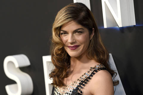 FILE - In this April 9, 2018 file photo, Selma Blair arrives at the Los Angeles premiere of