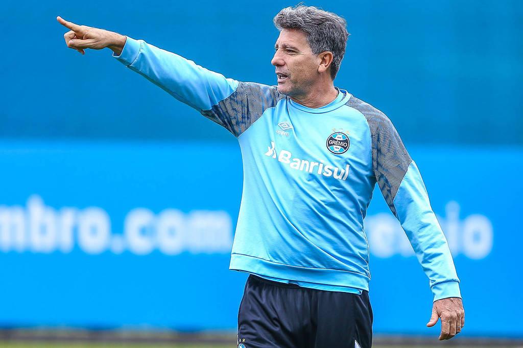 Renato no Centro de Treinamentos Presidente Luiz Carvalho, em um treino do Grêmio (Foto: Reprodução/Lucas Uebel/Grêmio)