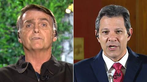 Bolsonaro e Haddad em entrevista para Globo