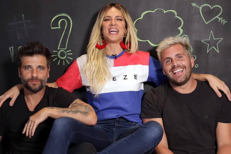 Giovanna Ewbank entre os irmãos Bruno e Thiago Gagliasso