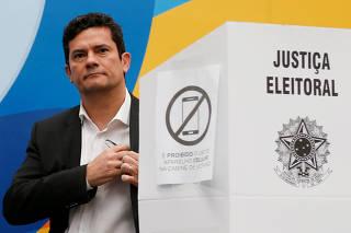 Brazilian federal Judge Sergio Moro, casts his vote in Curitiba
