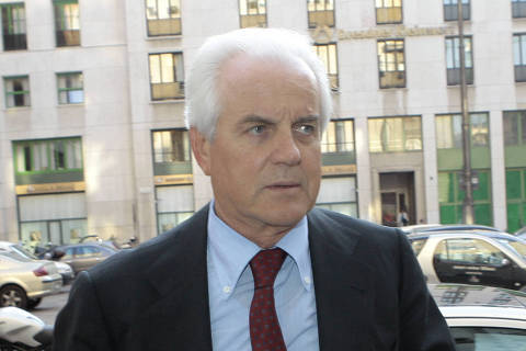 FILE -- OBIT - In this April 17, 2007 file photo Gilberto Benetton arrives for a Telecom board meeting in Milan, Italy. Gilberto Benetton, co-founder of the Benetton Group, died Monday, Oct. 22, 2018. (AP Photo/Luca Bruno, file) ORG XMIT: XAP115
