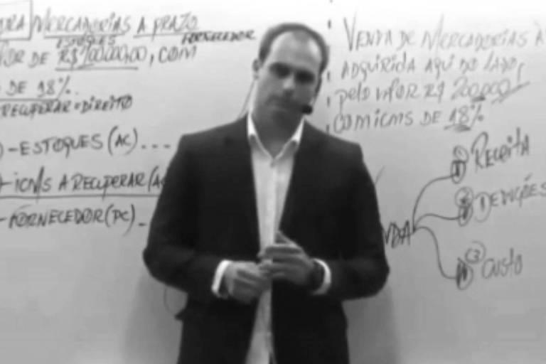 Eduardo Bolsonaro em vídeo em que fala sobre fechar o STF