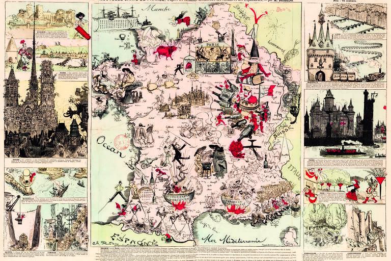 LIVRO Food & Drinks Infographics (TASCHEN) - Mapa gastronômico da França, em que se indicam os principais produtores de alimentos específicos por região. 1880