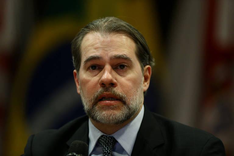 O presidente do STF, ministro Dias Toffoli, fala durante seminário