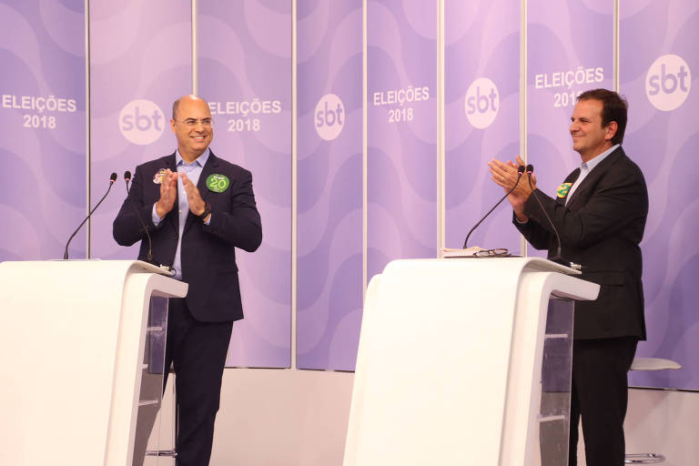 Wilson Witzel (PSC) Eduardo Paes (DEM) participam de debate promovido por folha, UOL e SBT entre candidatos ao Governo do Rio de Janeiro
