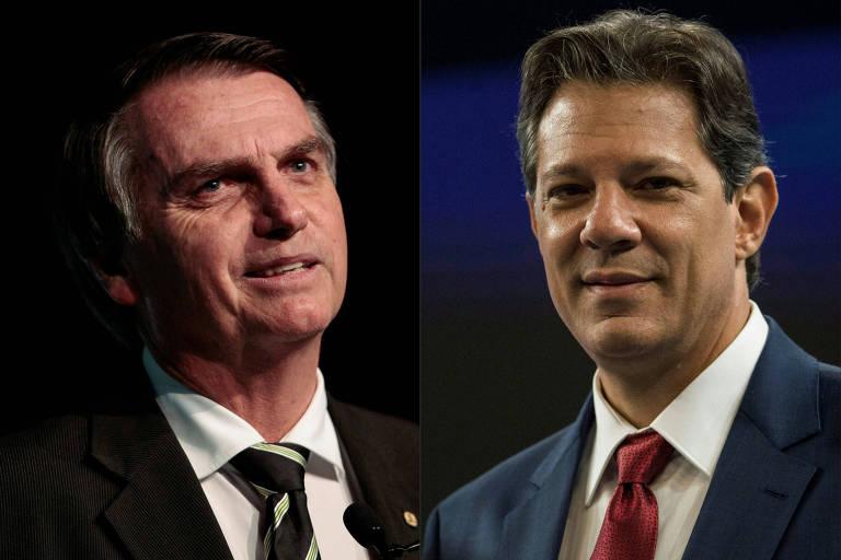 Os candidatos Jair Bolsonaro (PSL) e Fernando Haddad (PT), que disputam o segundo turno da corrida presidencial