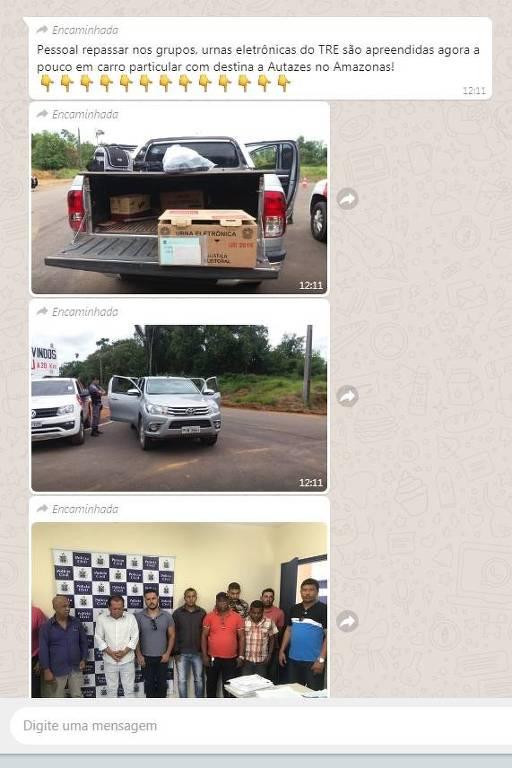tela de celular com fotos de urnas eletrônicas na caçamba de uma caminhonete