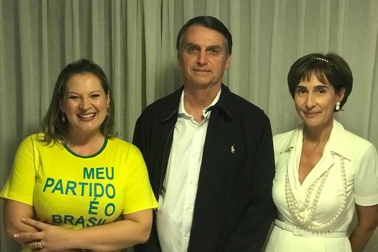 Jair Bolsonaro (PSL) e a deputada eleita Joice Hasselmann se encontram com a presidente do Instituto Ayrton Senna, Viviane Senna, no Rio de Janeiro