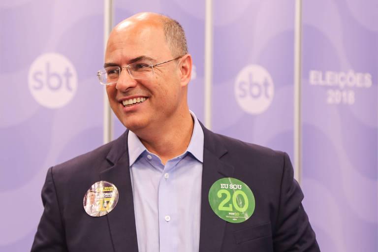 Wilson Witzel (PSC), candidato ao Governo do Rio de Janeiro, durante debate promovido por Folha, UOL e SBT