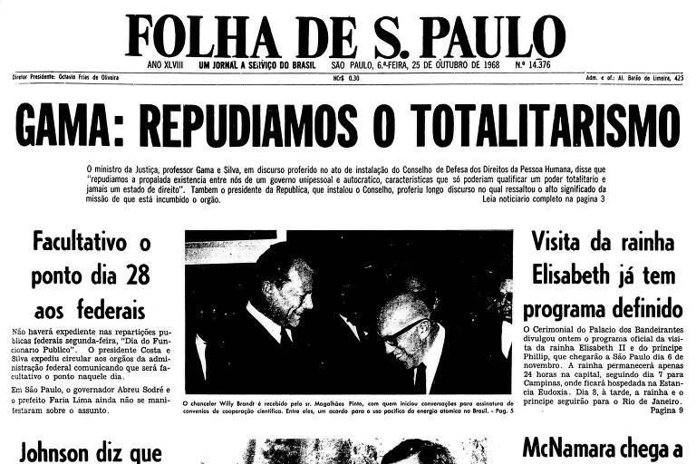 Primeira página da Folha de 21 de outubro de 1968