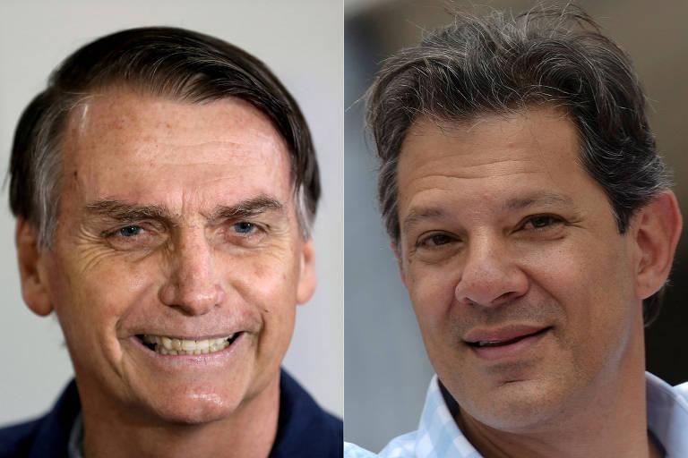 Montagem com as fotos dos presidenciáveis Jair Bolsonaro (PSL) e Fernando Haddad (PT)