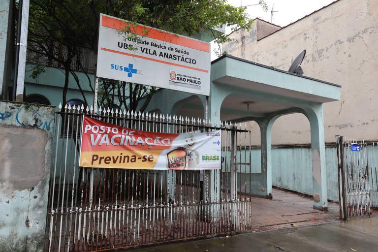 A UBS de Vila Anastácio, na zona oeste, que será fechada por causa de aluguel atrasado