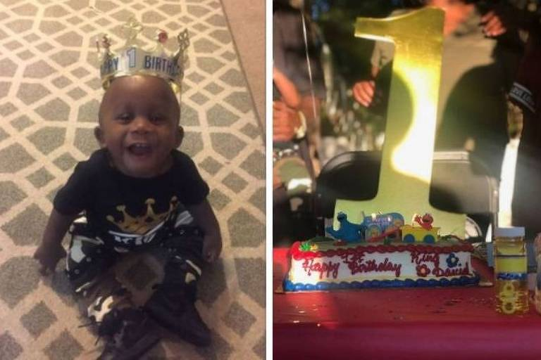 O menino David, filho de Kesha Campbell, e o bolo de aniversário que ganhou de Vanessa Philips