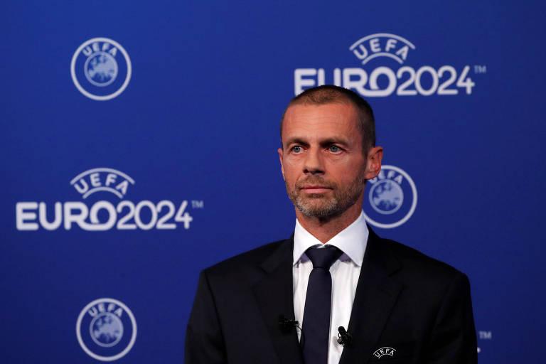 O presidente da Uefa, Aleksander Ceferin, durante anúncio da sede da Euro-2024