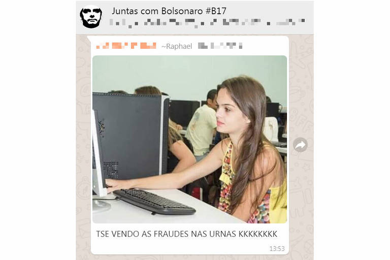 A mesma menina desanimada foi encontrada em grupos pró-Bolsonaro e pró-Haddad