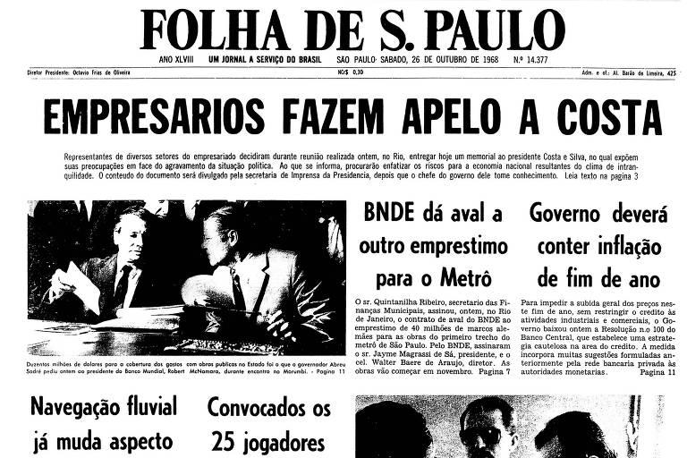Primeira página da Folha de 26 de outubro de 1968