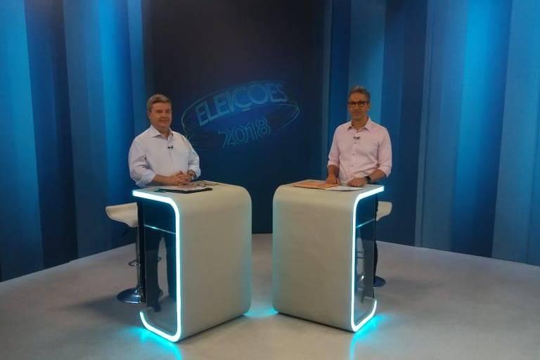 Antonio Anastasia (PSDB) e Romeu Zema (Novo) em debate da Rede Globo em Minas