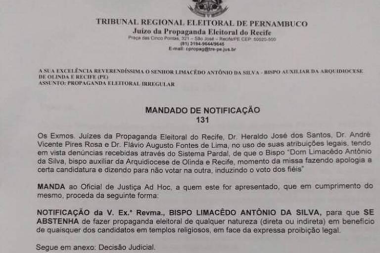 Bispo é notificado para não fazer propaganda política durante missas em PE