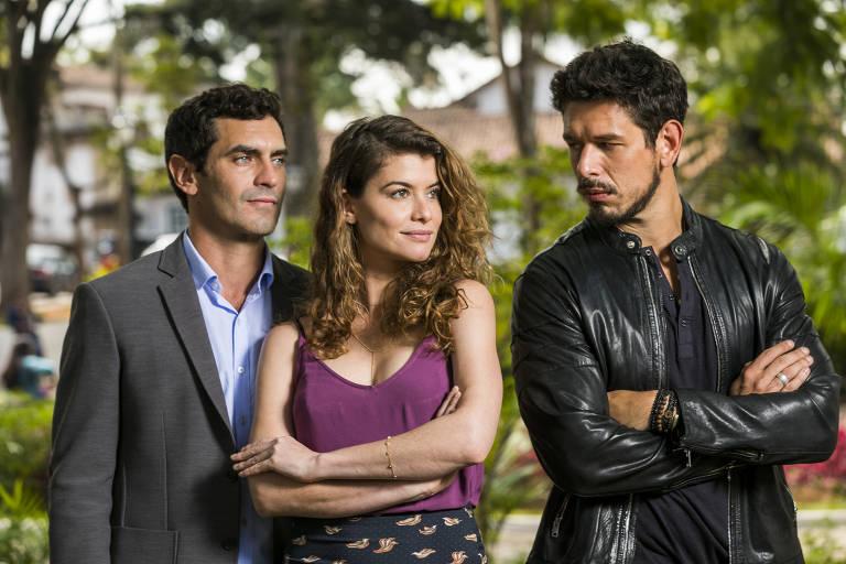 Isabel: o empecilho na amizade de Alain e Marcelo. Marcelo ( Nikolas Antunes ), Alain ( João Vicente ) e Isabel ( Alinne Moraes )