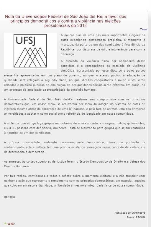 print de texto censurado de seite da UFSJ