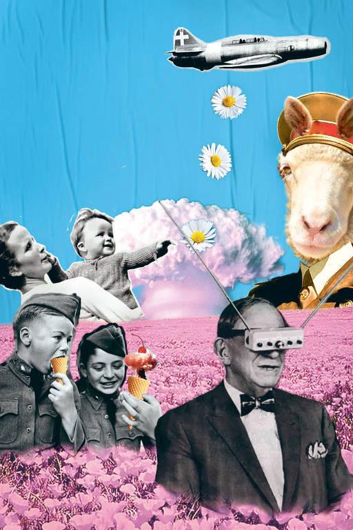 colagem com pessoas, flores, cabra e avião