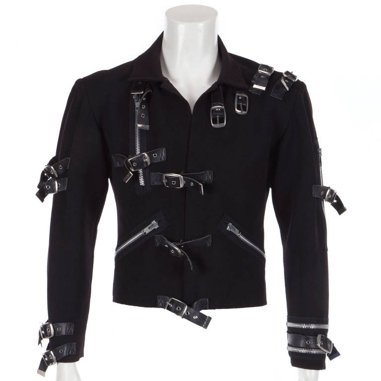 Jaqueta preta de Michael Jackson usada em turnê em 1989