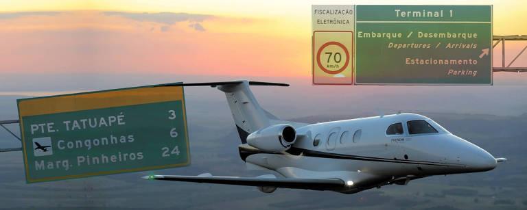 Montagem sobre foto de jato Phenom 100, produzido pela Embraer, parte da frota da Avantto, empresa que é um misto de clube de voo, cooperativa e consórcio