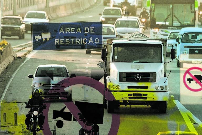 Montagem sobre imagem de caminhão que roda sem placa para fugir do horário de restrição de circulação na Marginal Tietê, em São Paulo