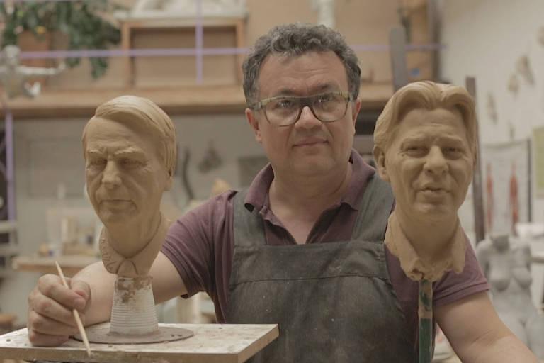 Cícero exibe os bustos dos dois candidatos