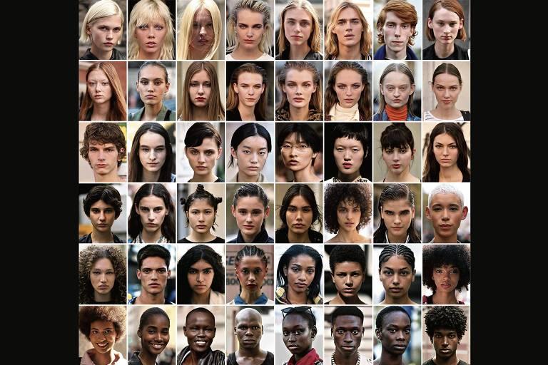 Modelos escalados para as últimas temporadas de desfiles em Londres, Milão, Paris e São Paulo