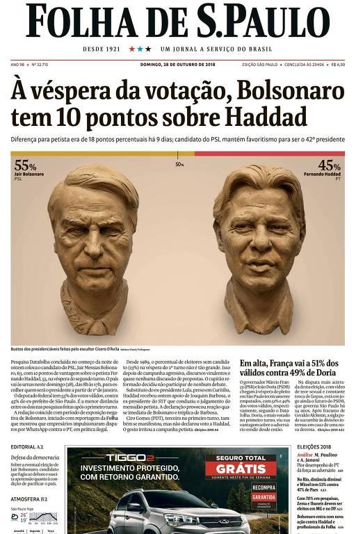Capa do jornal Folha de São Paulo: Na manchete: à véspera da votação, Bolsonaro tem 10 pontos sobre Haddad