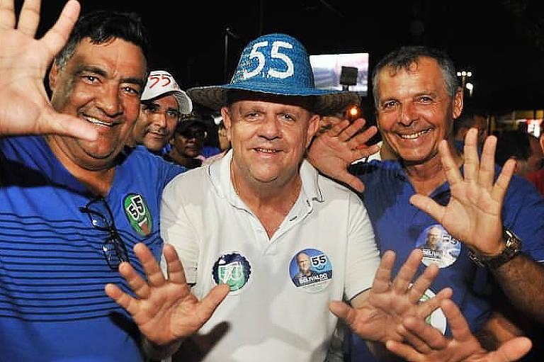 O governador eleito de Sergipe, Belivaldo Chagas (PSD-SE), durante agenda de campanha no segundo turno das eleições