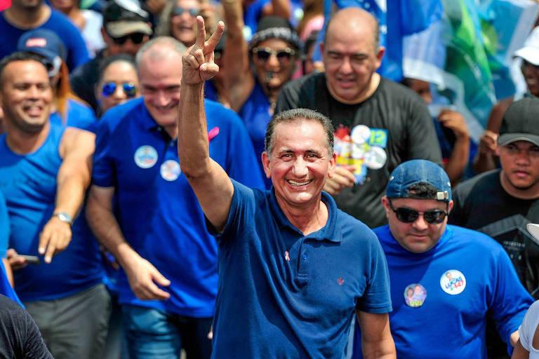 O governador eleito do Amapá, Waldez Góes (PDT-AP), durante agenda de campanha