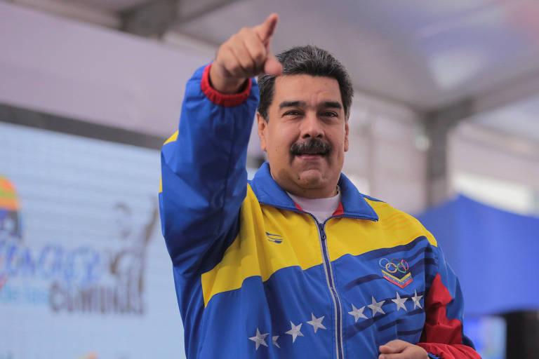 O ditador venezuelano Nicolás Maduro durante evento em Caracas