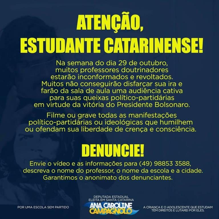 Post da deputada eleita Ana Caroline Campagnolo