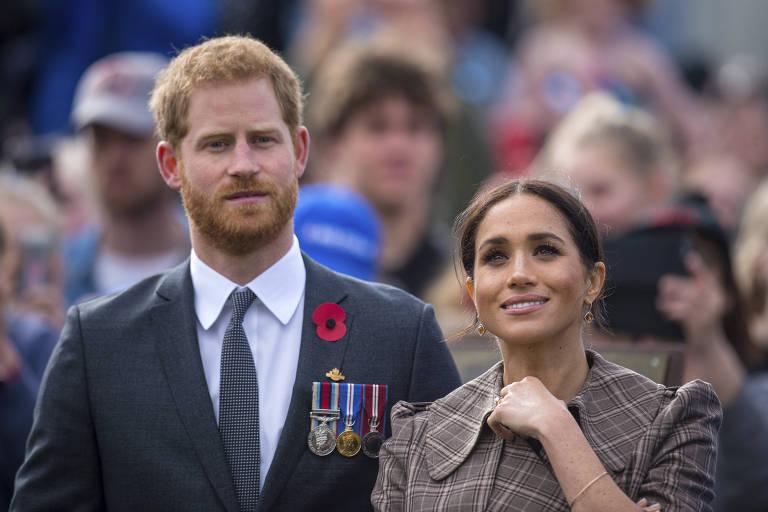 Príncipe Harry e a Duquesa de Sussex, Meghan Markle, durante evento na Nova Zelândia