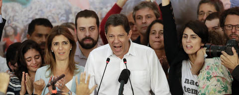 Workers' Party presidential candidate Fernando Haddad delivers his concession speech, in Sao Paulo, Brazil, Sunday, Oct. 28, 2018. Brazil?s Supreme Electoral Tribunal declared far-right congressman Jair Bolsonaro the next president of Latin America?s biggest country. (AP Photo/Andre Penner) ORG XMIT: XAP112