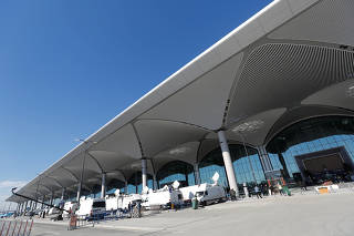 A terminal of the Istanbul's new airport is pictured prior to the official opening ceremony