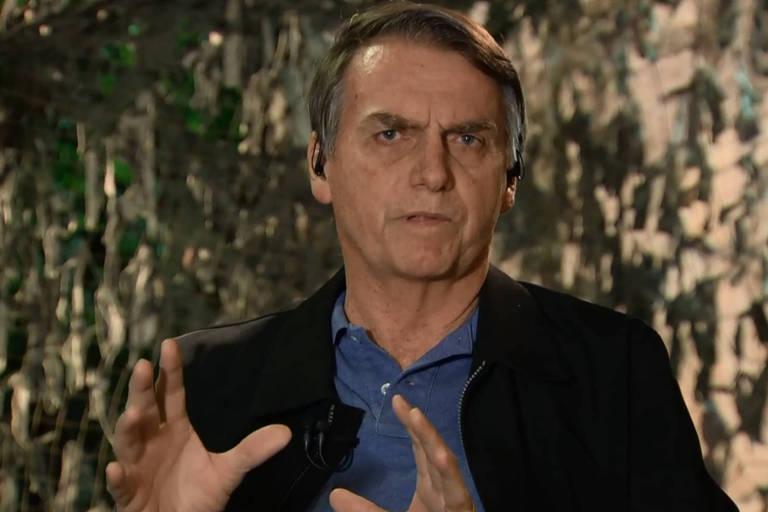 O presidente eleito, Jair Messias Bolsonaro, durante entrevista ao Jornal Nacional, da TV Globo
