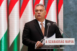 Hungarian Prime Minister Viktor Orban delivers a speech during the celebrations of the anniversary of the Hungarian Uprising of 1956, in Budapest