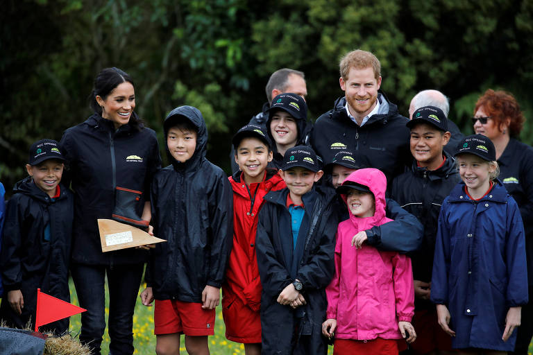 Britain's Prince Harry and Meghan, Duchess of Sussex, attend an event unveiling the Queen's Commonwealth Canopy in Redvale, North Shore, New Zealand